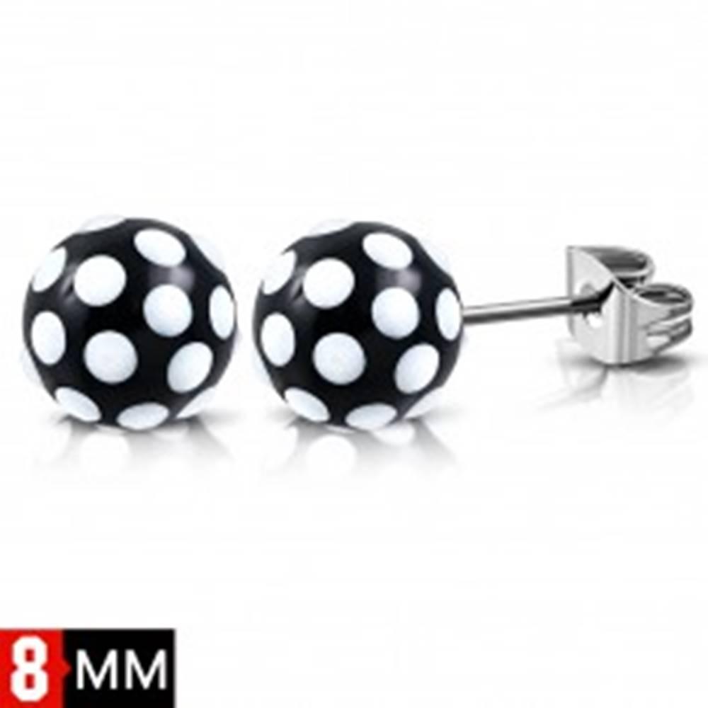 Šperky eshop Náušnice z ocele 316L, čierno-biele bodkované guličky