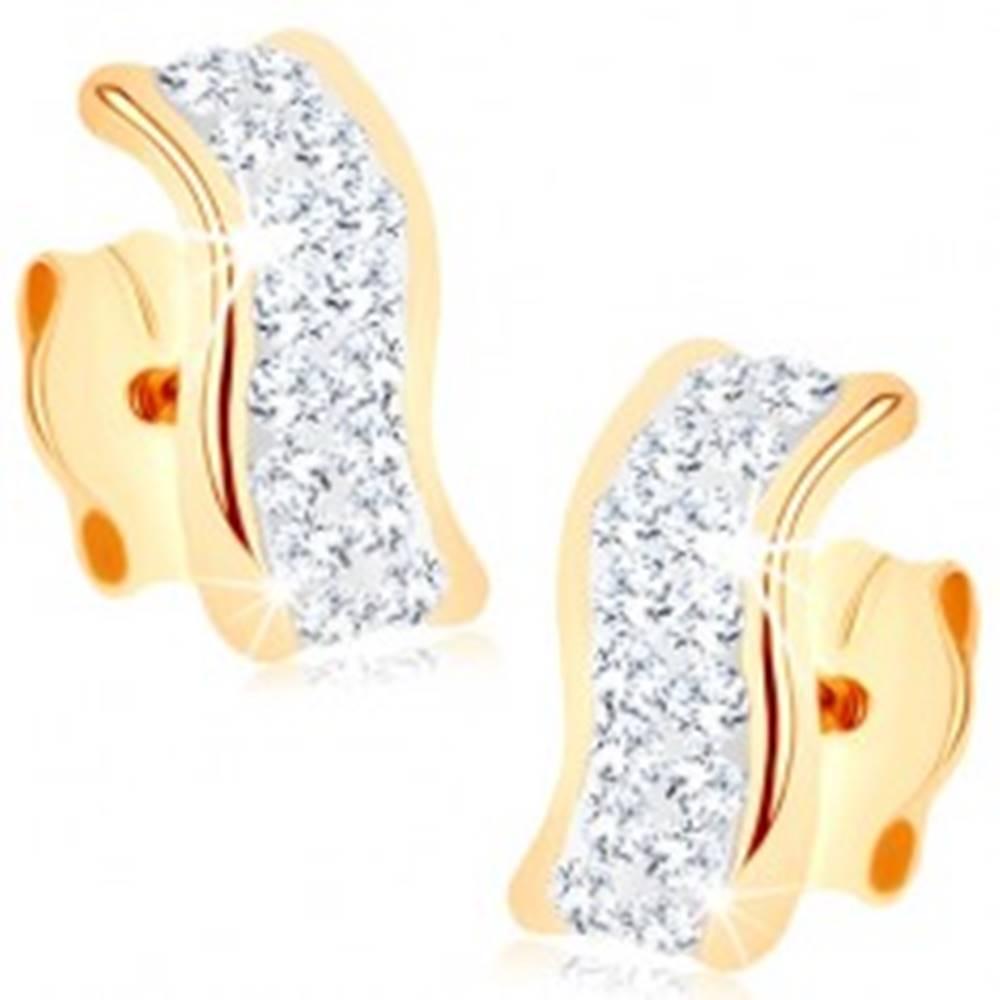 Šperky eshop Náušnice zo žltého 9K zlata - zvlnený pásik zdobený Swarovského krištáľmi