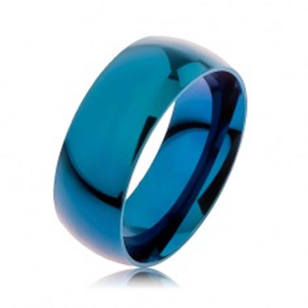 Šperky eshop Obrúčka z ocele 316L, modrá farba, anodizovaná titánom, 8 mm - Veľkosť: 57 mm