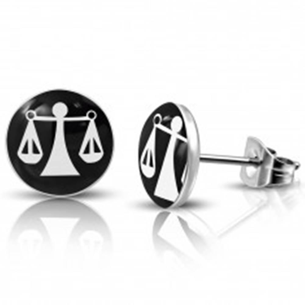 Šperky eshop Oceľové okrúhle náušnice so znamením zverokruhu - váhy
