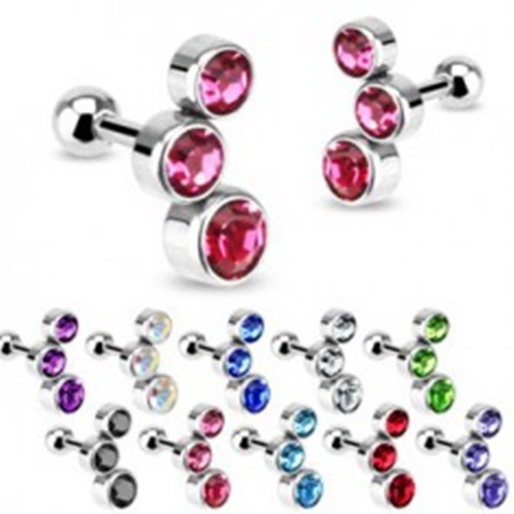 Šperky eshop Oceľový piercing do tragusu ucha - tri vsadené zirkóny, rôzne farby - Farba zirkónu: Aqua modrá - Q