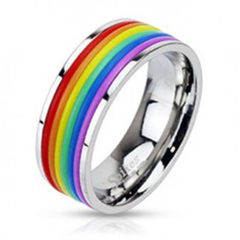 Šperky eshop Oceľový prsteň s dúhovým gumeným stredom - Veľkosť: 54 mm