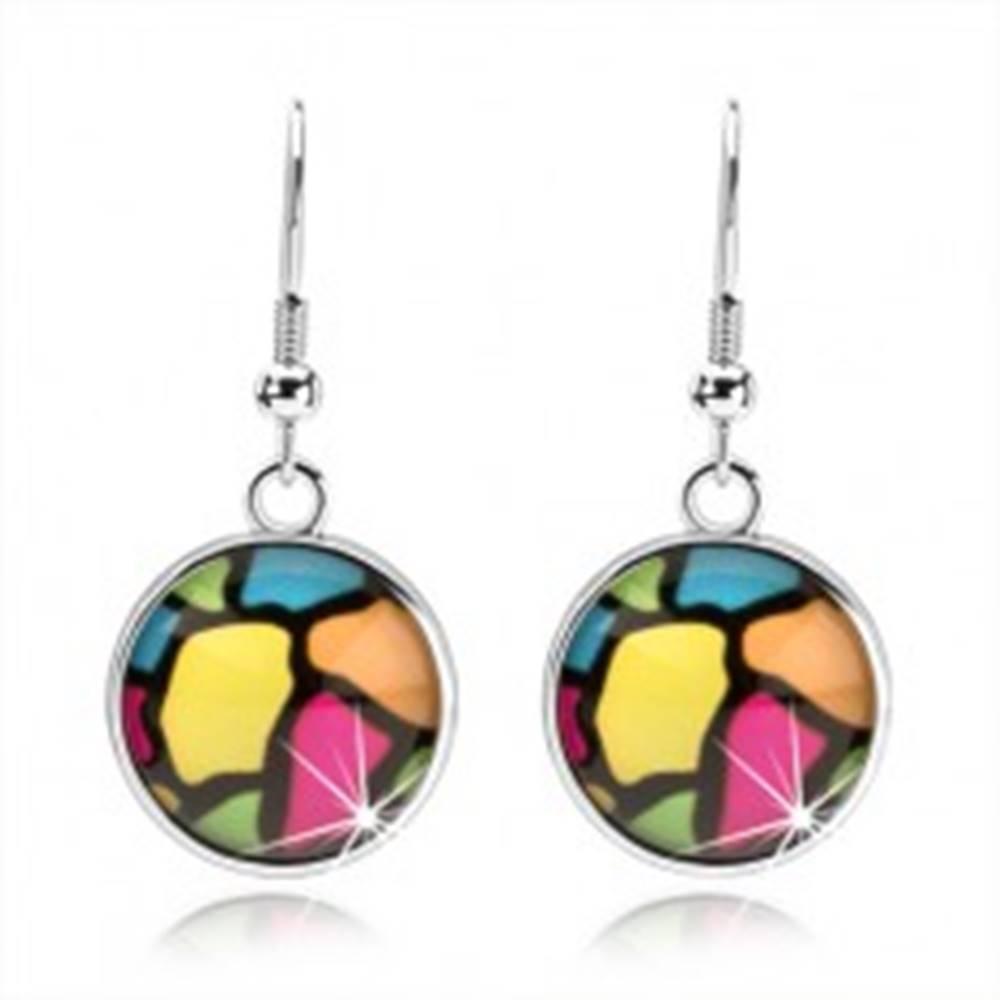 Šperky eshop Okrúhle náušnice s glazúrou, rôznofarebné nepravidelné útvary, kabošon