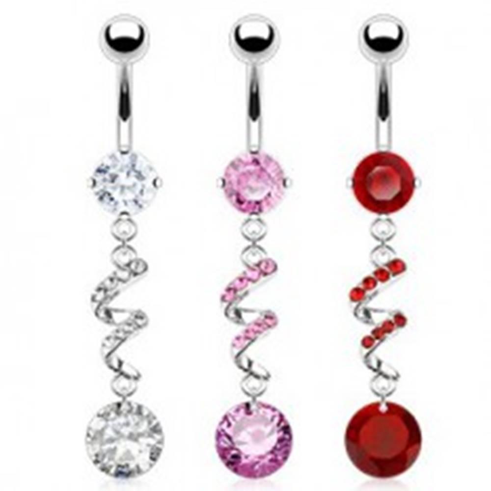 Šperky eshop Piercing do brucha - špirála, zirkóny, strieborná farba - Farba zirkónu: Červená - R