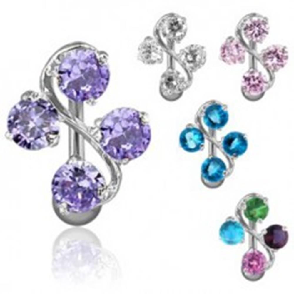 Šperky eshop Piercing do pupka - esíčko a štyri zirkóny - Farba piercing: Aqua