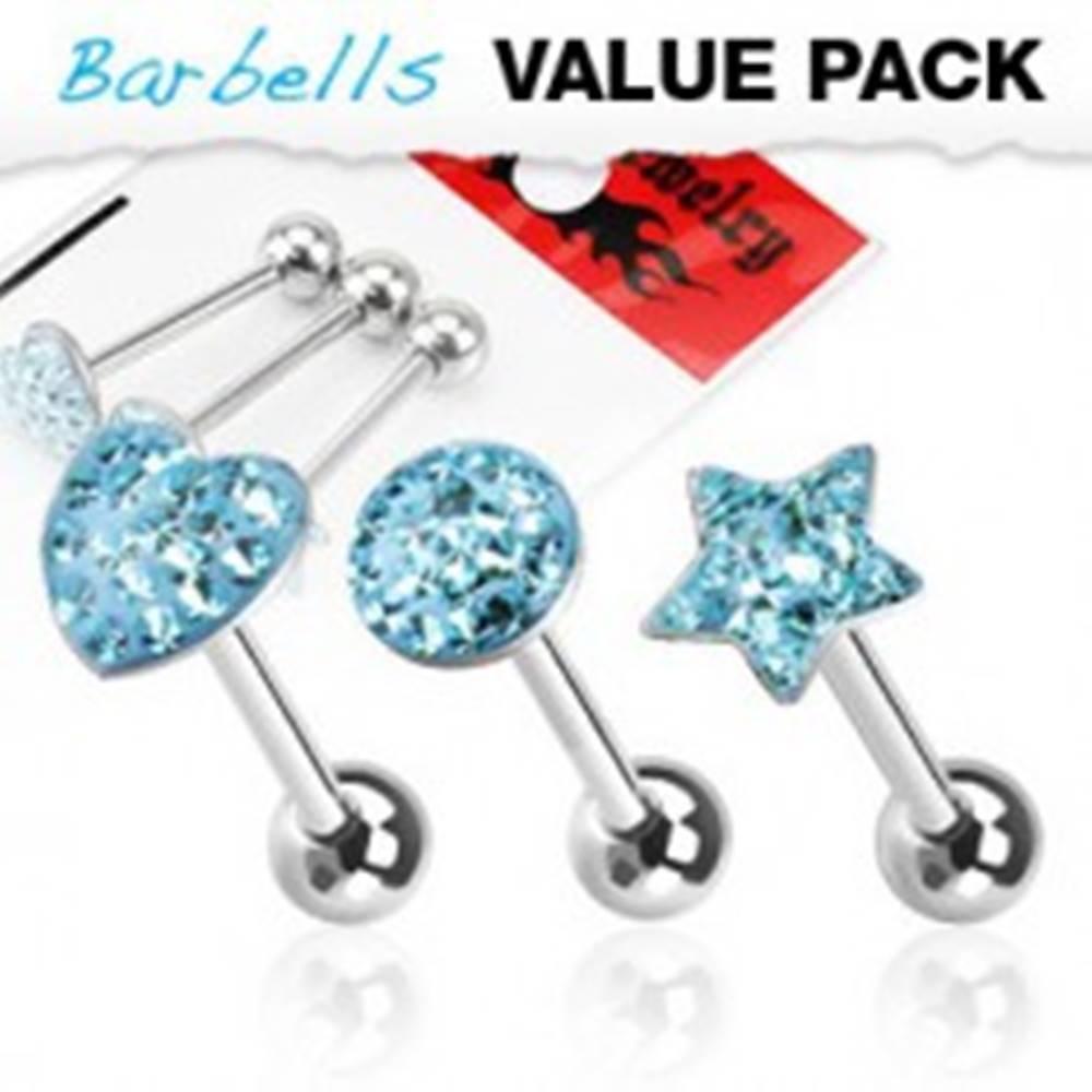 Šperky eshop Piercingy do jazyka - SET srdiečko, hviezda, kruh so zirkónmi - Farba zirkónu: Aqua modrá - Q