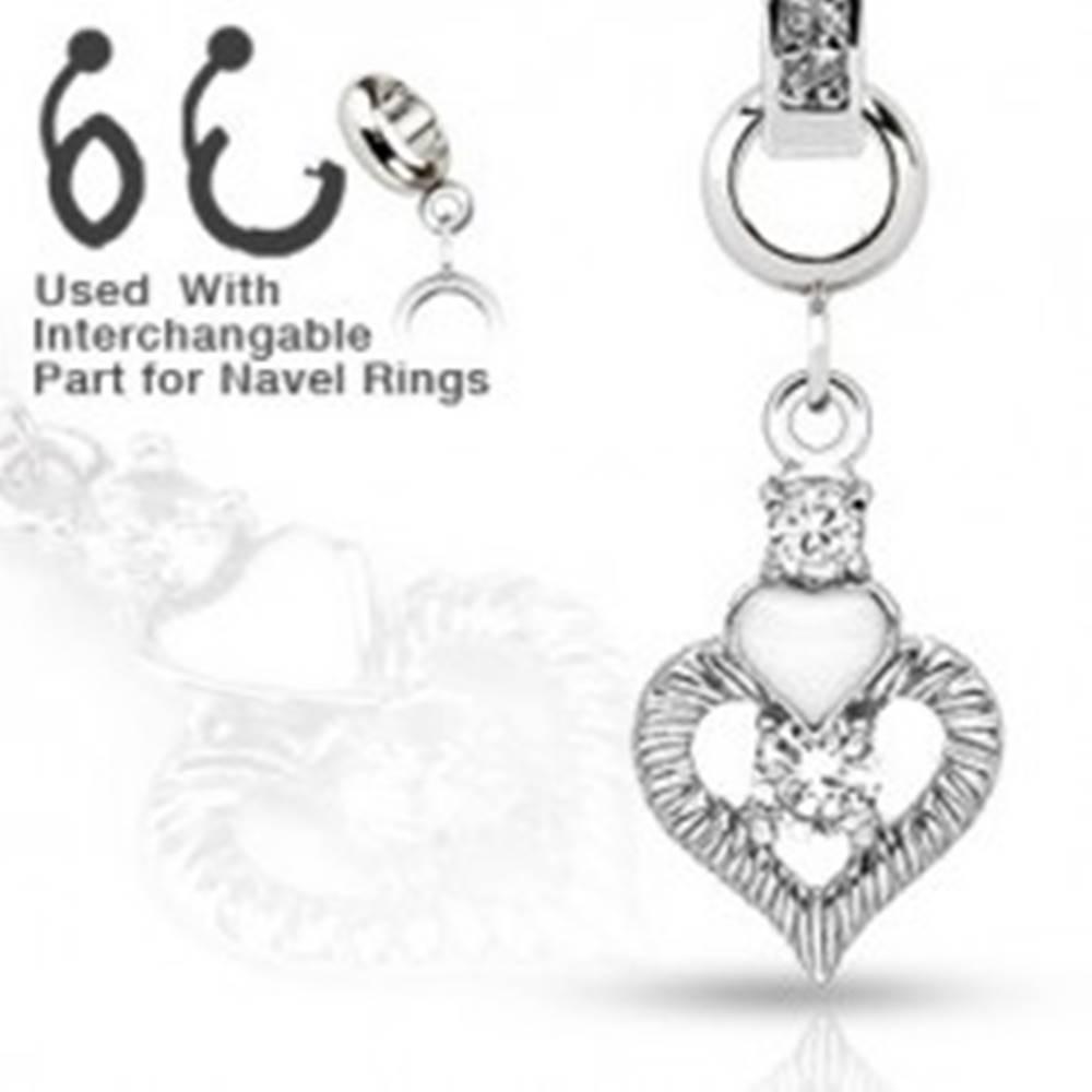 Šperky eshop Prívesok na piercing do pupka s dvoma srdiečkami a zirkónmi