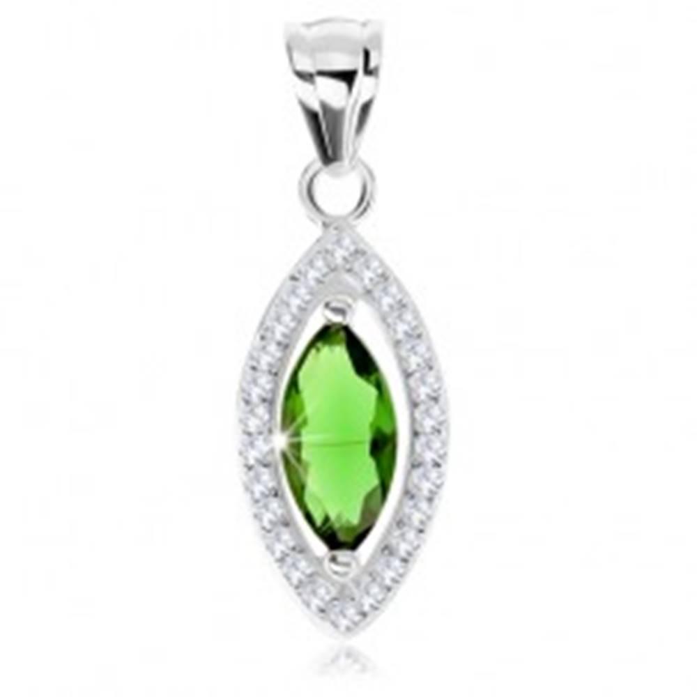 Šperky eshop Prívesok, striebro 925, zirkónové zrnko zelenej farby, ligotavý lem