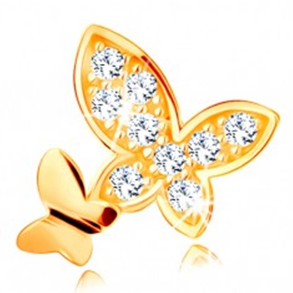 Šperky eshop Prívesok v žltom 14K zlate - dva motýle - hladký a vykladaný zirkónmi