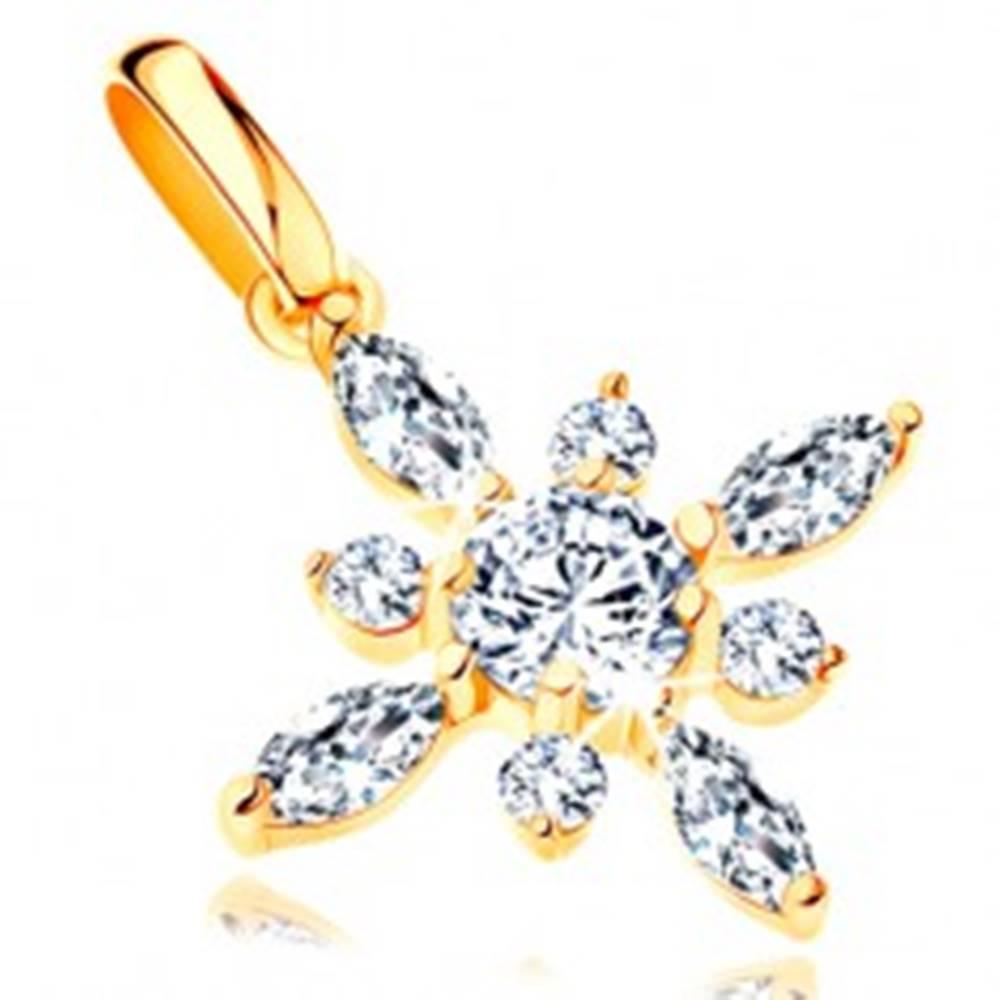 Šperky eshop Prívesok v žltom 14K zlate - trblietavý kvet z čírych brúsených zirkónov