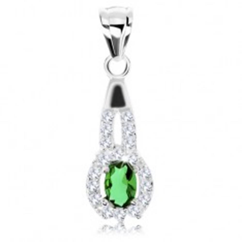 Šperky eshop Prívesok zo striebra 925, zelený zirkónový ovál, číry obrys z okrúhlych zirkónikov