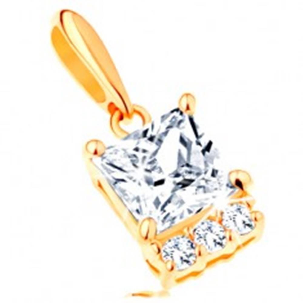Šperky eshop Prívesok zo žltého 14K zlata - číry zirkónový štvorec, línia čírych zirkónikov