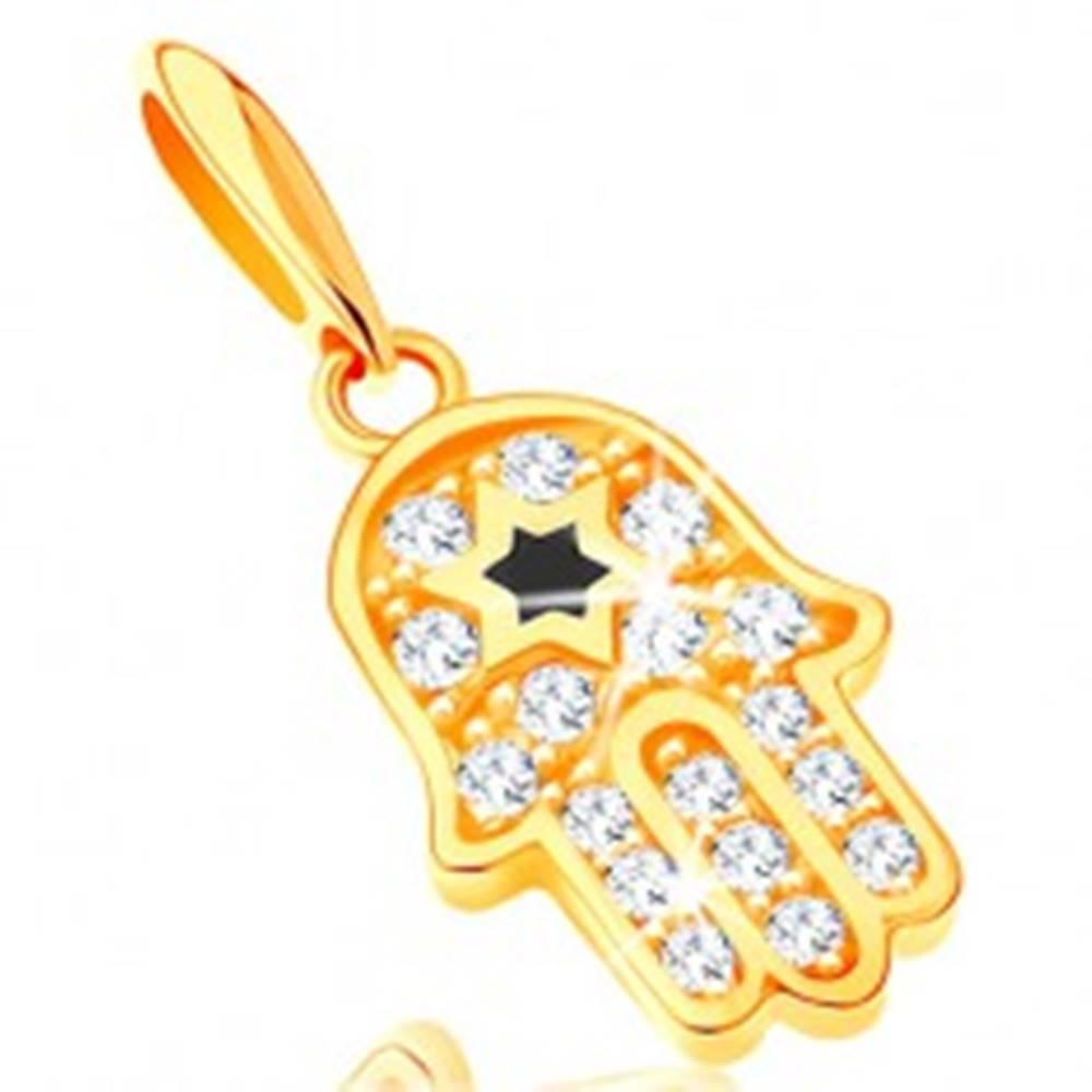 Šperky eshop Prívesok zo žltého 14K zlata - symbol Hamsa s čírymi zirkónmi a čiernou hviezdou