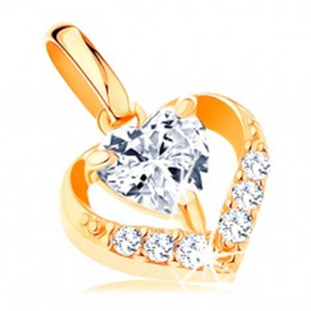Šperky eshop Prívesok zo žltého 14K zlata - zirkónový obrys srdca, číry srdiečkový zirkón