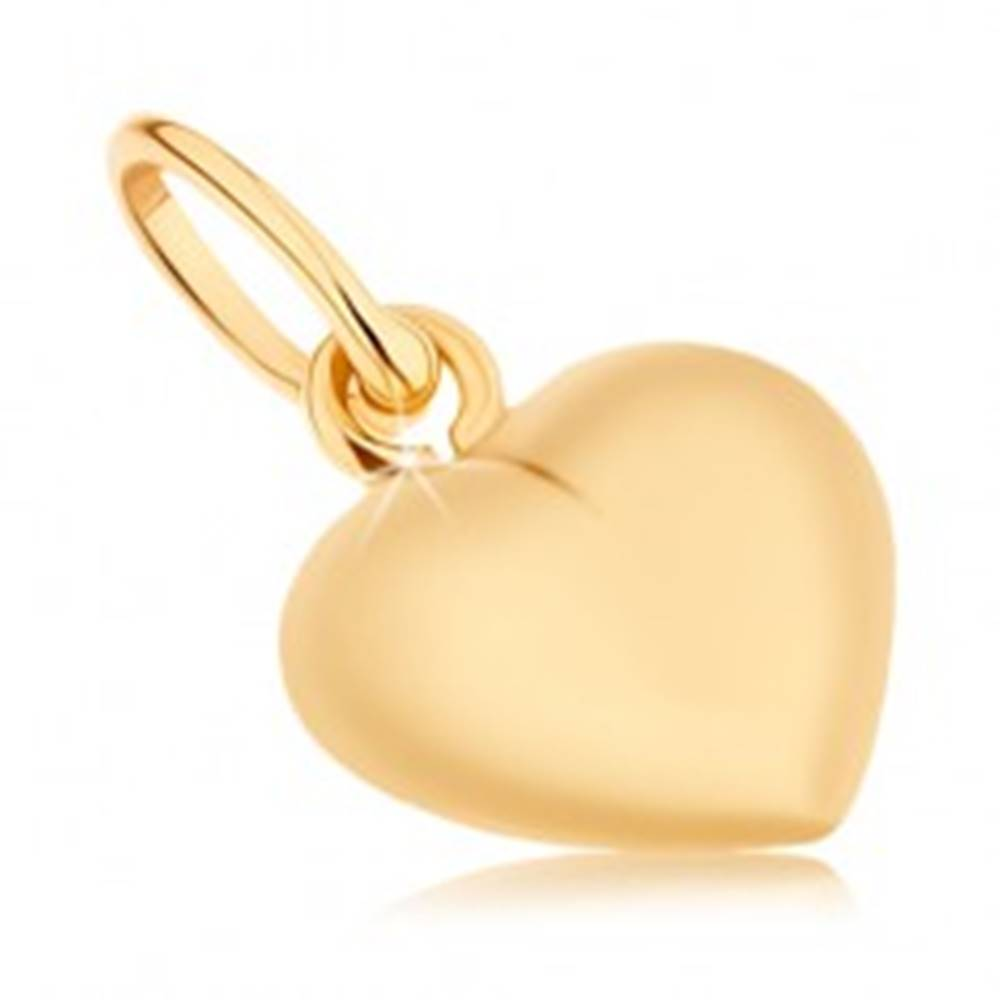Šperky eshop Prívesok zo žltého 9K zlata - obojstranne vypuklé srdiečko, vysoký lesk