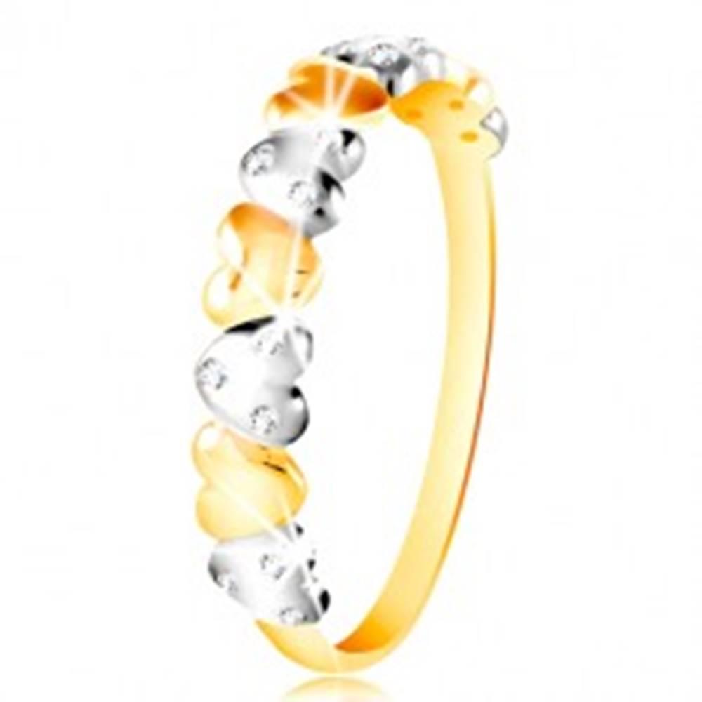 Šperky eshop Prsteň v kombinovanom zlate 585 - dvojfarebné srdiečka, číre zirkóny - Veľkosť: 49 mm