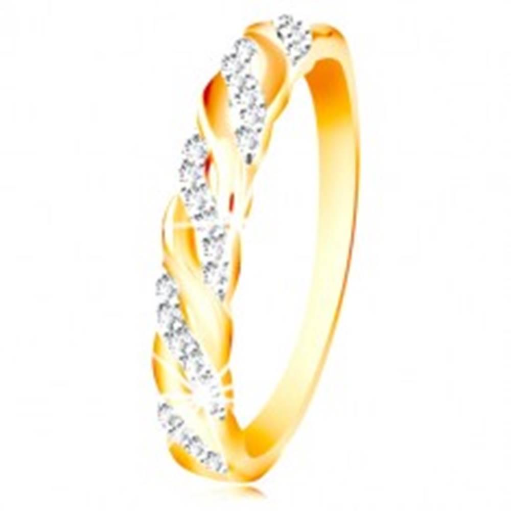 Šperky eshop Prsteň v kombinovanom zlate 585 - zirkónové a hladké vlnky - Veľkosť: 49 mm