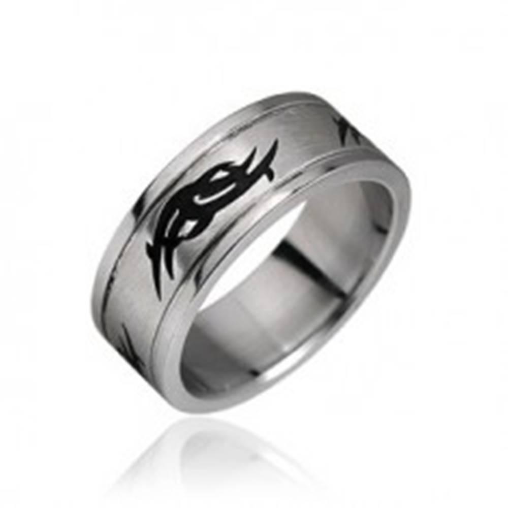 Šperky eshop Prsteň z chirurgickej ocele - tribal motív - Veľkosť: 59 mm