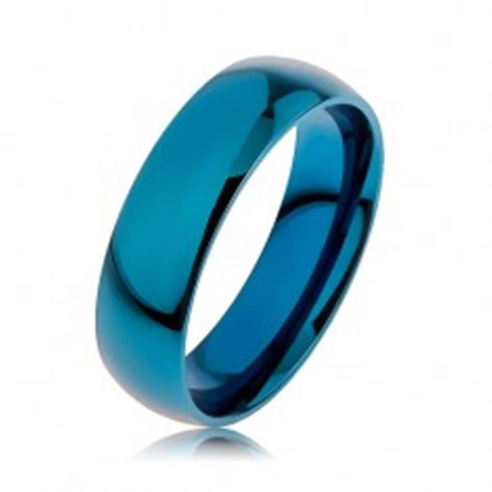 Šperky eshop Prsteň z chirurgickej ocele v modrej farbe, povrch anodizovaný titánom, 6 mm - Veľkosť: 56 mm