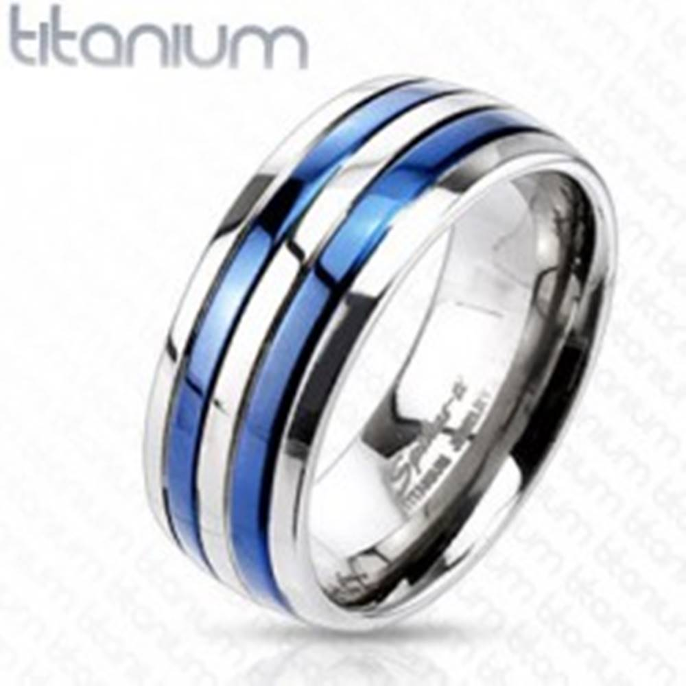 Šperky eshop Prsteň z titánu s dvoma modrými pruhmi - Veľkosť: 49 mm