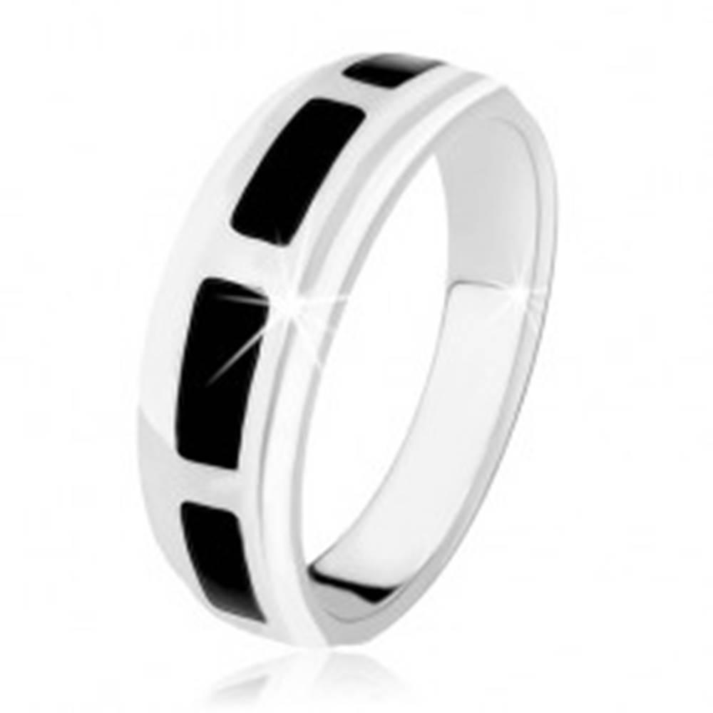 Šperky eshop Prsteň zo striebra 925, obdĺžniky z čierneho ónyxu, vysoký lesk - Veľkosť: 49 mm