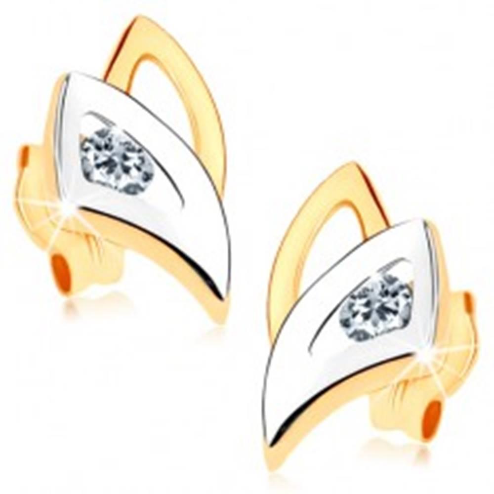 Šperky eshop Puzetové náušnice v 9K zlate - dvojfarebné obrysy trojuholníkov, číry zirkónik