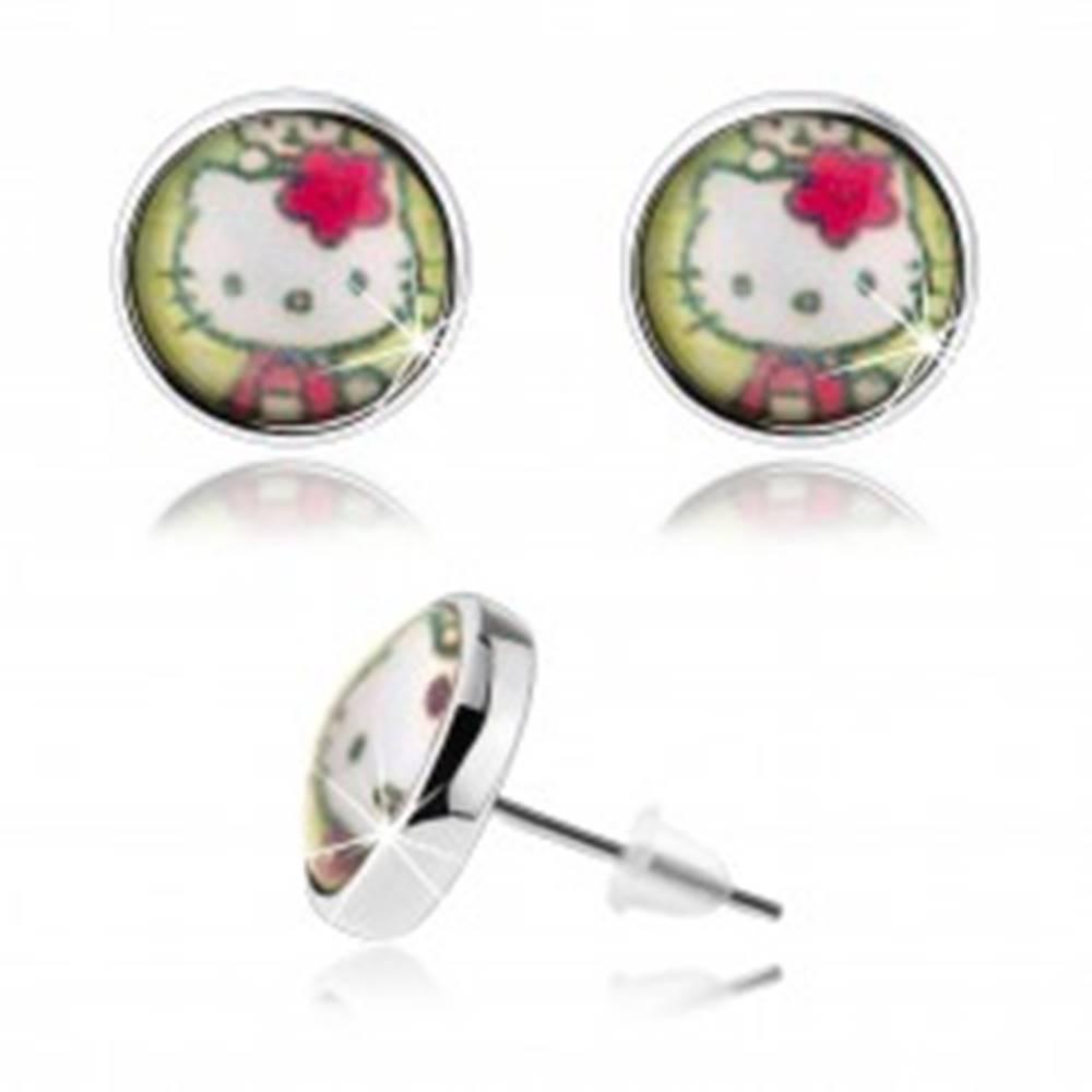 Šperky eshop Puzetové náušnice v štýle cabochon, vypuklé sklo, Hello Kitty, zelené pozadie