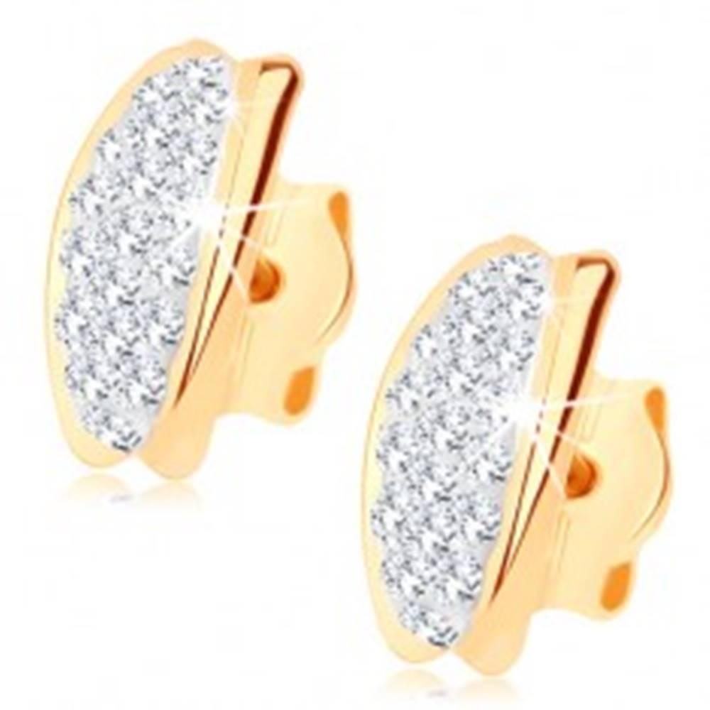 Šperky eshop Puzetové náušnice v žltom 9K zlate - oblúčik vykladaný Swarovského krištáľmi
