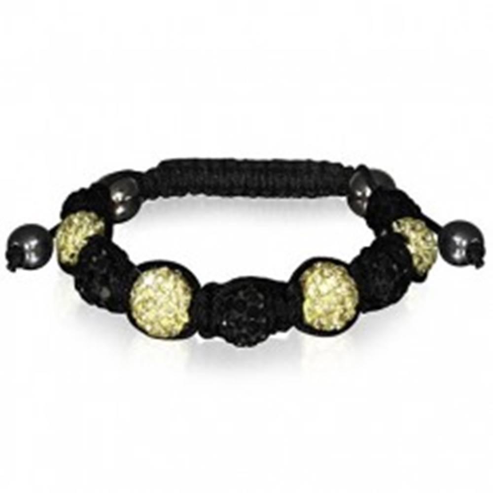 Šperky eshop Shamballa náramok s čiernymi a žltými zirkónovými guličkami