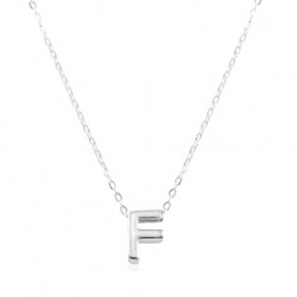 Šperky eshop Strieborný 925 náhrdelník, lesklá retiazka, veľké tlačené písmenko F