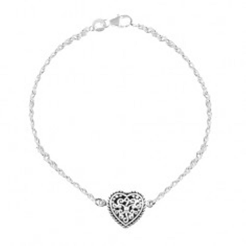 Šperky eshop Strieborný 925 náramok, srdce s patinou a ornamentmi