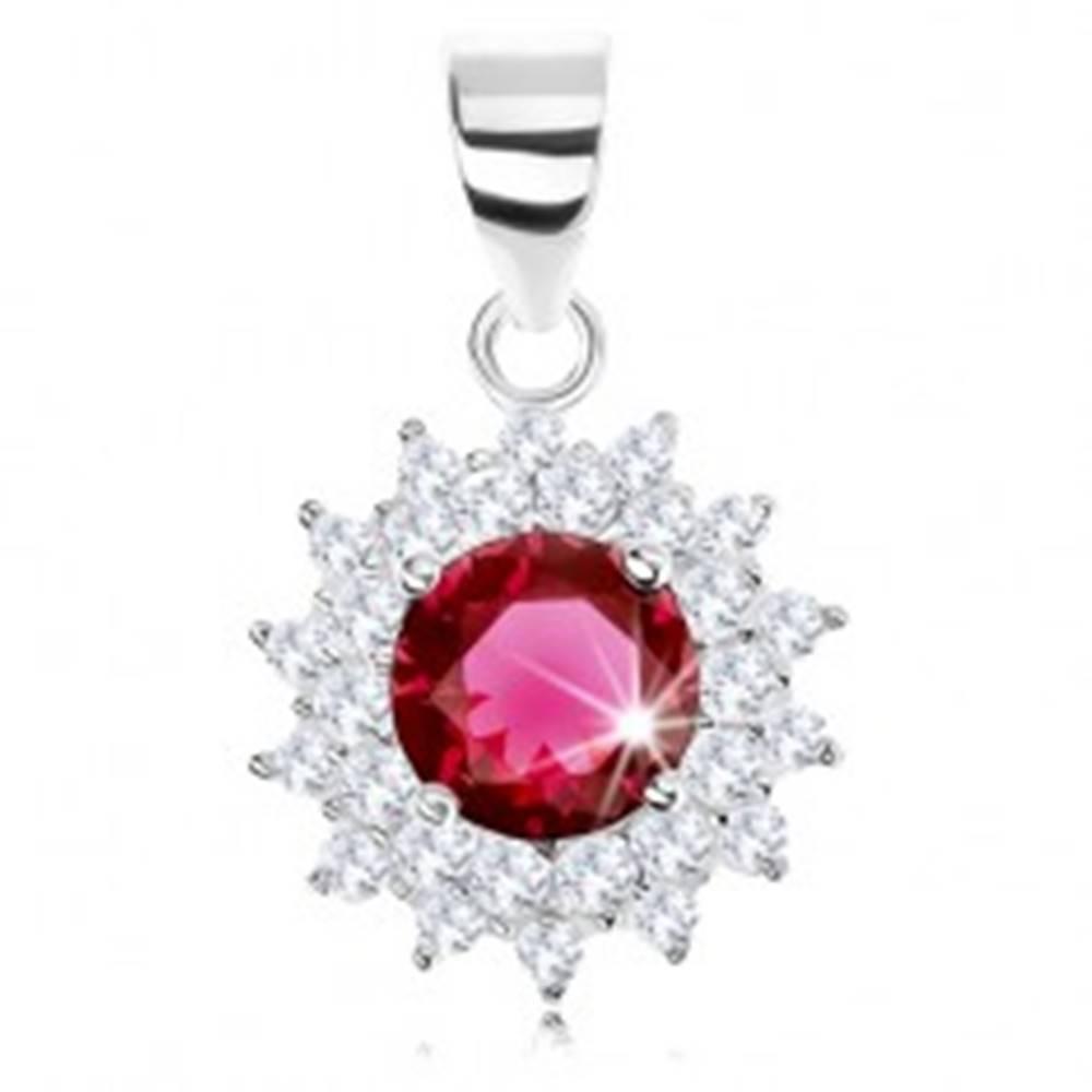 Šperky eshop Strieborný 925 prívesok, trblietavý kvet, okrúhly červenofialový zirkón, číre lupene