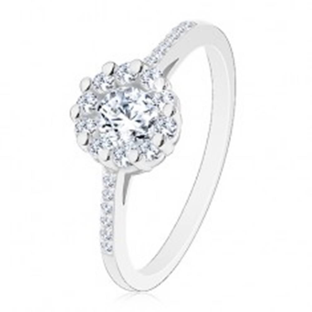 Šperky eshop Strieborný 925 prsteň - číry žiarivý kvietok, zirkónové ramená - Veľkosť: 48 mm