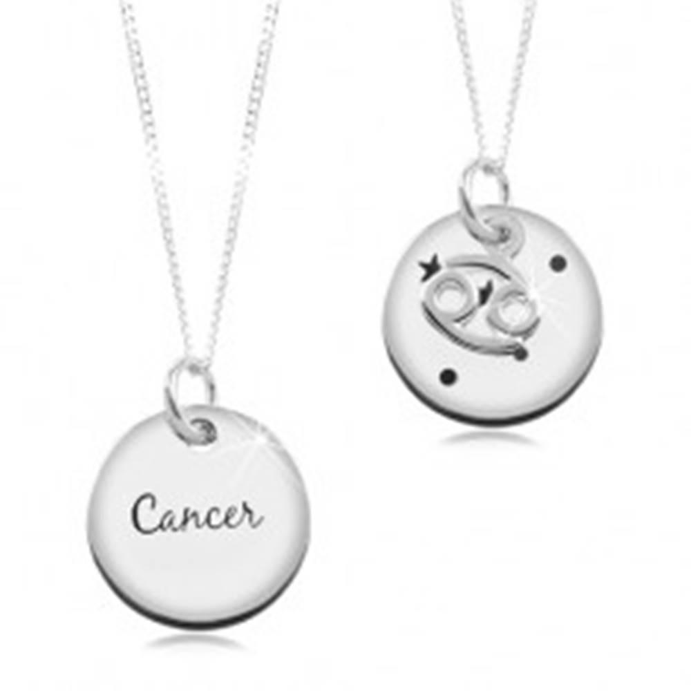 Šperky eshop Strieborný náhrdelník 925, retiazka a okrúhly prívesok - znamenie RAK