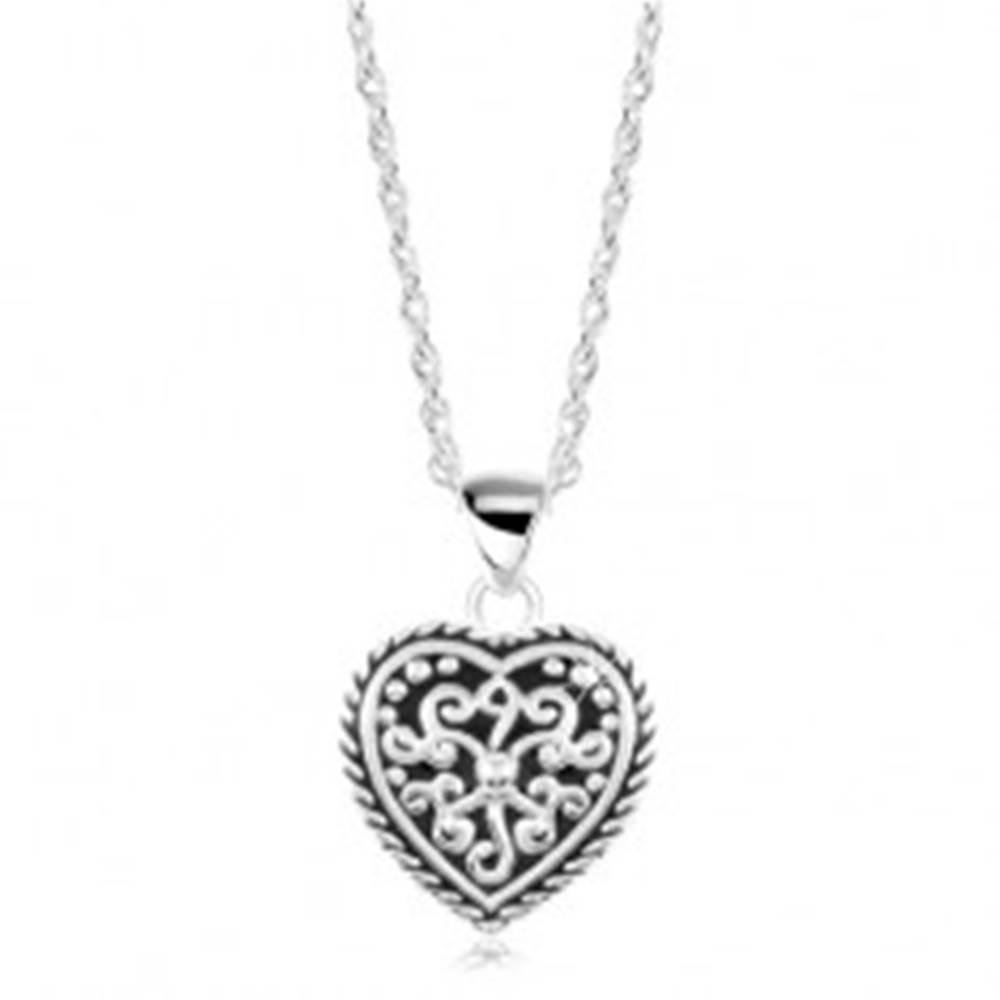 Šperky eshop Strieborný náhrdelník 925, srdce s patinou a ornamentmi