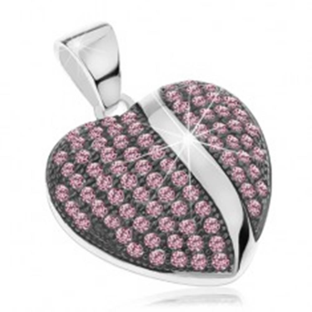 Šperky eshop Strieborný prívesok 925, vypuklé patinované srdiečko s ružovými zirkónmi