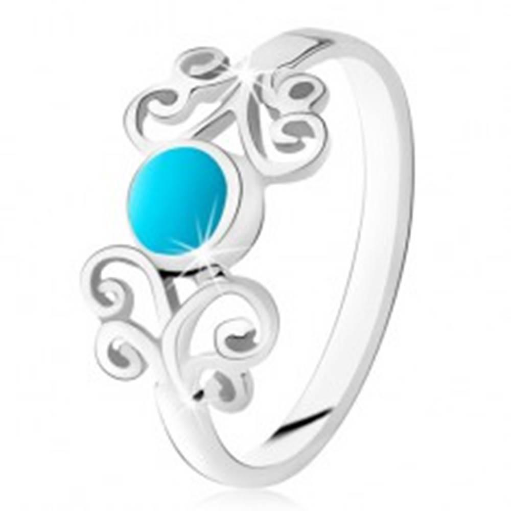 Šperky eshop Strieborný prsteň 925, okrúhly tyrkys, lesklé ornamenty, úzke ramená - Veľkosť: 49 mm