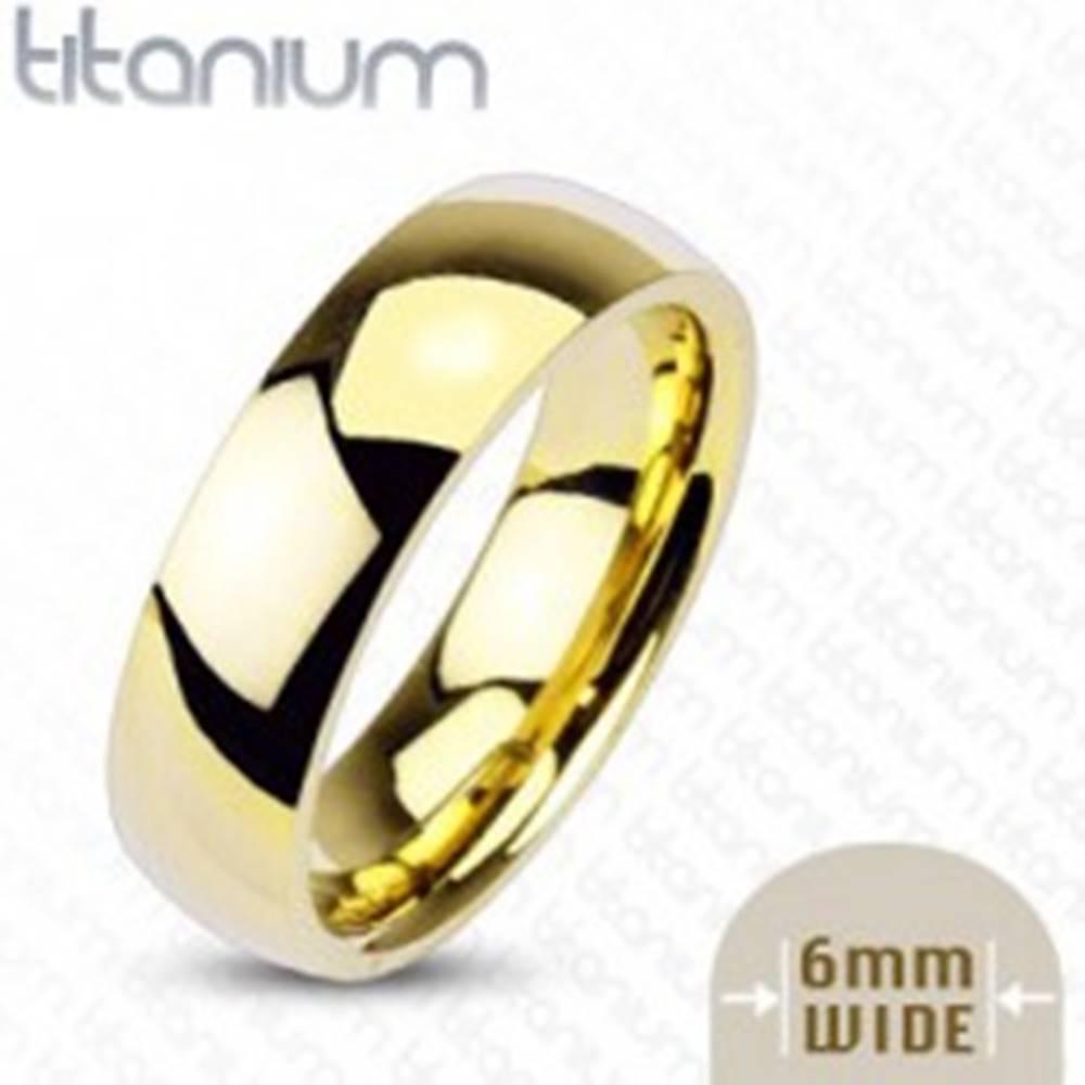 Šperky eshop Titánová obrúčka zlatej farby, 6 mm - Veľkosť: 49 mm