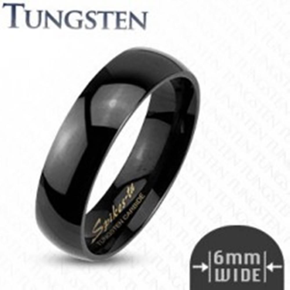 Šperky eshop Tungstenový hladký čierny prsteň, 6 mm - Veľkosť: 49 mm