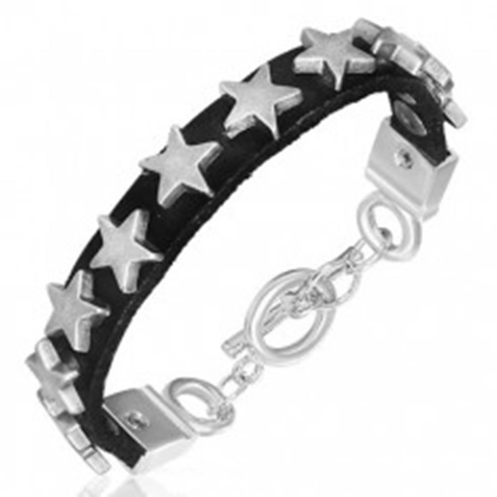 Šperky eshop Úzky náramok z kože s kovovými hviezdičkami