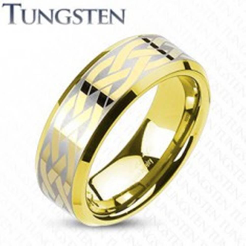 Šperky eshop Volfrámová obrúčka s keltským uzlom zlatej farby - Veľkosť: 49 mm