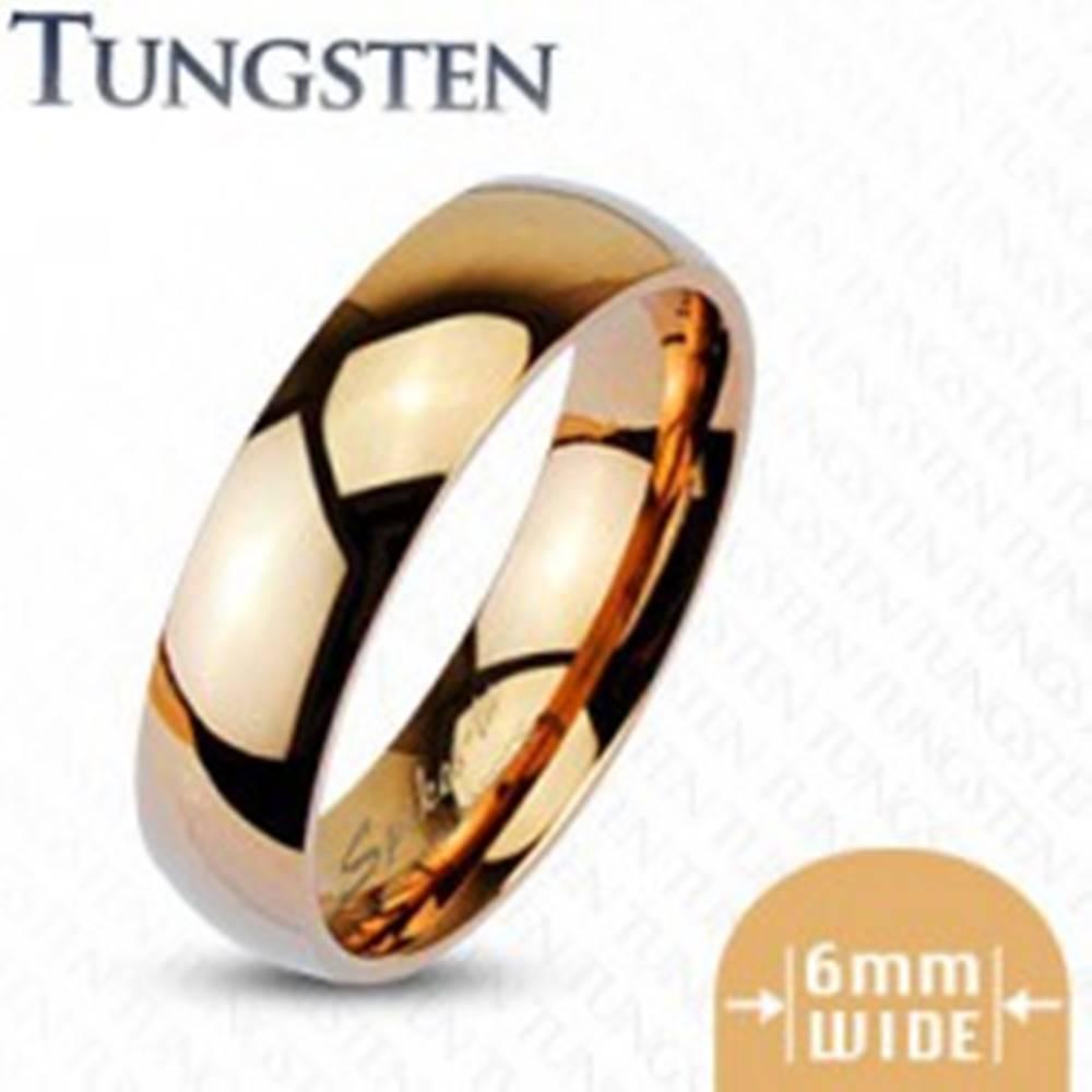 Šperky eshop Wolfrámová obrúčka ružovozlatej farby, lesklá - Veľkosť: 49 mm