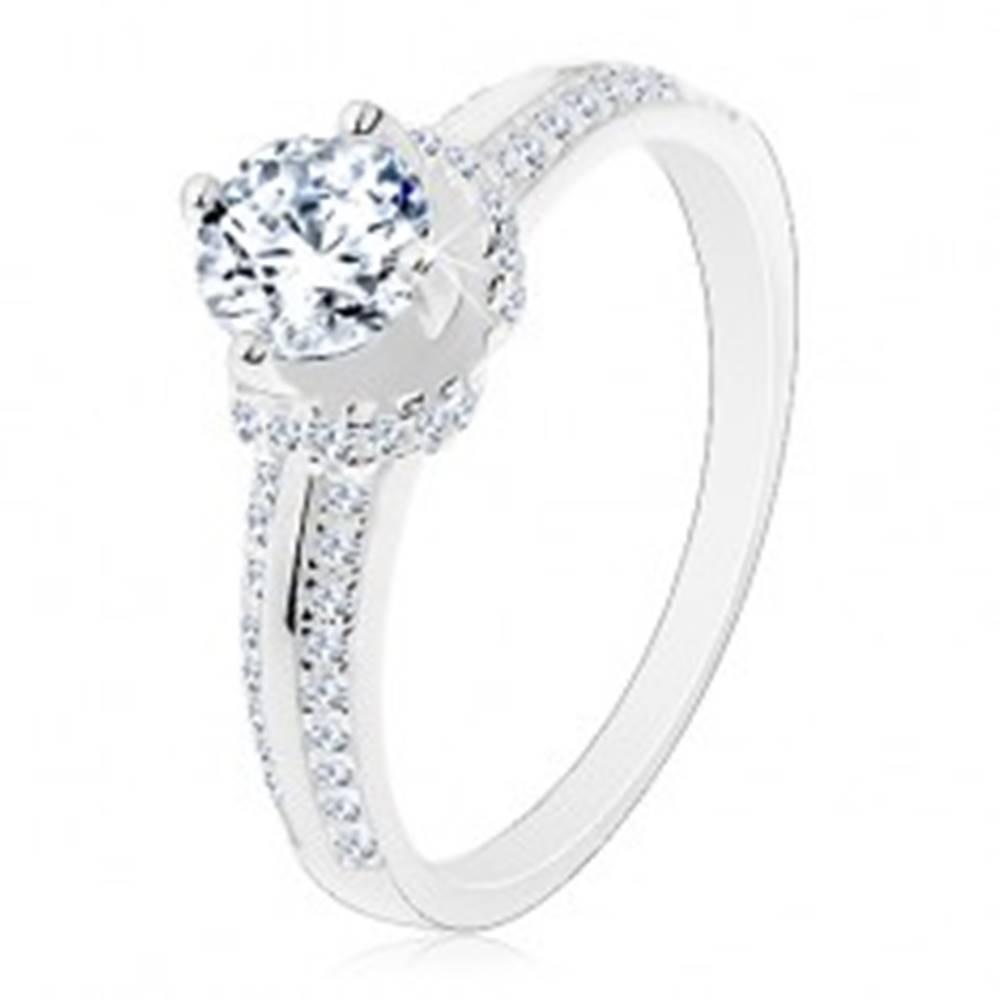 Šperky eshop Zásnubný prsteň, striebro 925, tenké zirkónové pásy, okrúhly zirkón - Veľkosť: 48 mm