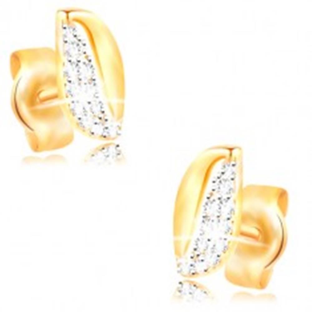 Šperky eshop Zlaté 14K náušnice - dvojfarebné zvlnené zrnko so zirkónmi a výrezom