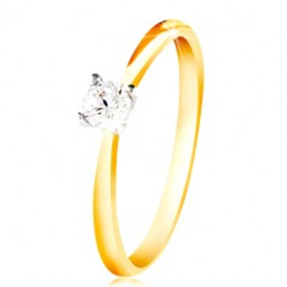 Šperky eshop Zlatý 14K prsteň - tenké ramená, číry zirkón v kotlíku z bieleho zlata - Veľkosť: 48 mm
