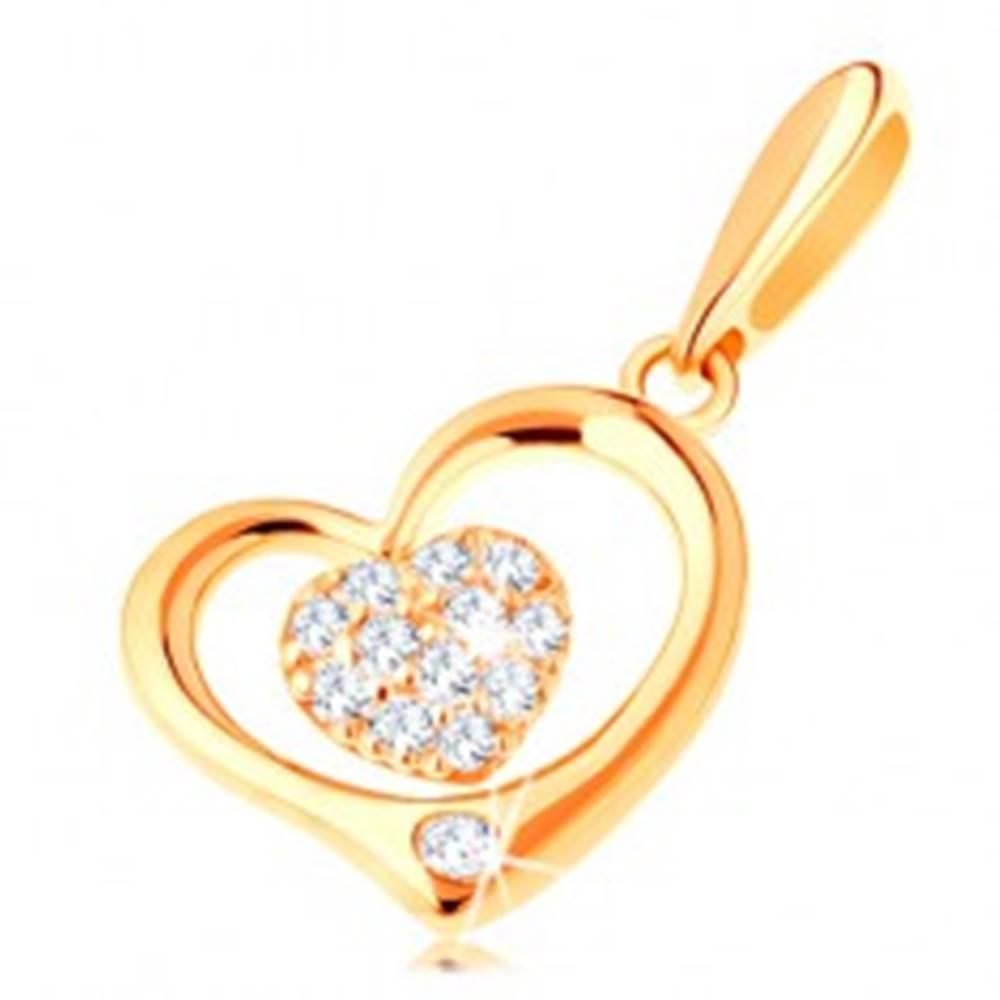 Šperky eshop Zlatý prívesok 585 - lesklý obrys srdca s menším zirkónovým srdiečkom