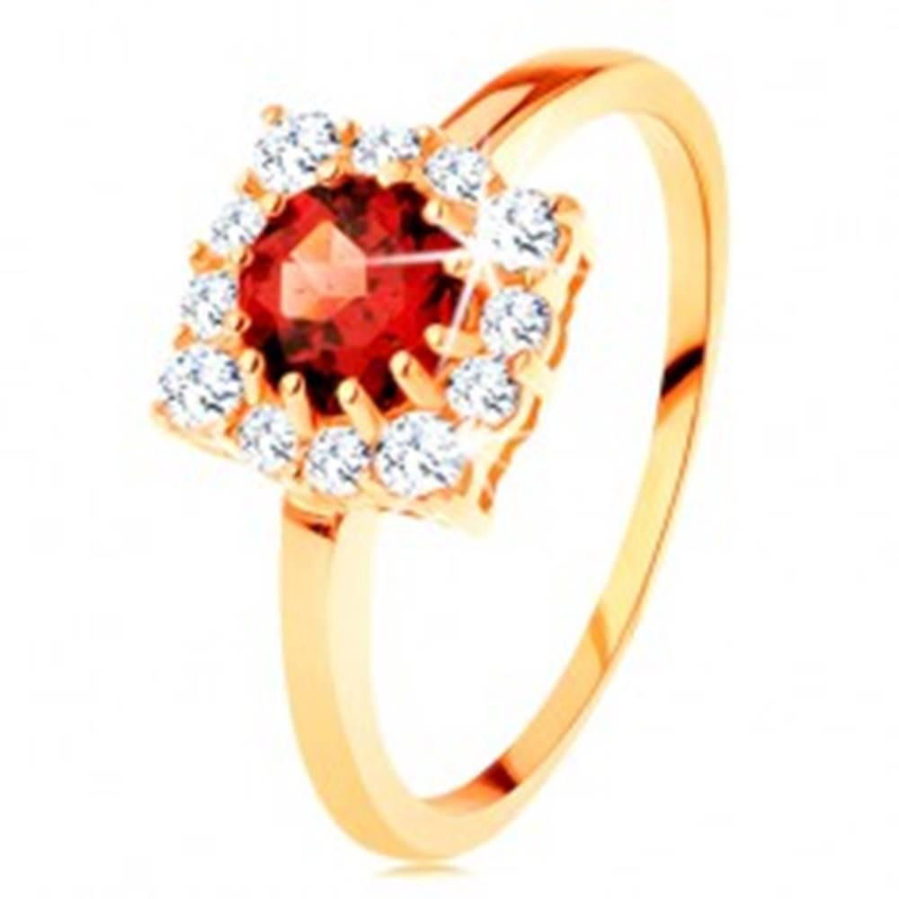 Šperky eshop Zlatý prsteň 585 - štvorcový zirkónový obrys, okrúhly červený granát - Veľkosť: 49 mm