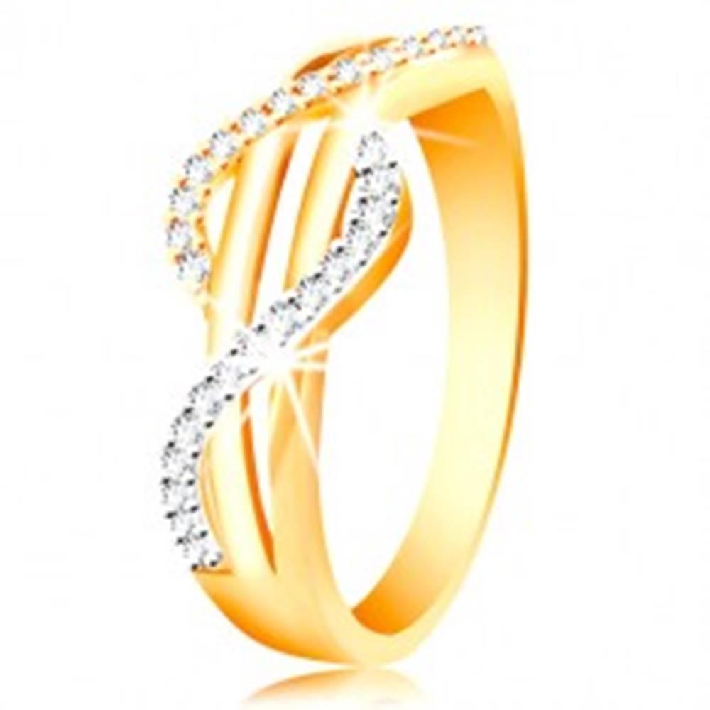 Šperky eshop Zlatý prsteň 585 - zirkónové vlnky zo žltého a bieleho zlata, rovné hladké pásy - Veľkosť: 49 mm