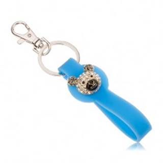 Kľúčenka striebornej farby, modrý silikónový prívesok, hlava medvedíka, zirkóny