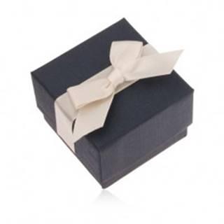Modrá darčeková krabička na prsteň, prívesok a náušnice, krémová mašľa